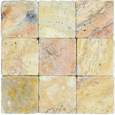 Antique Blend Classic Tumbled Travertine Mosaic Tiles 4x4