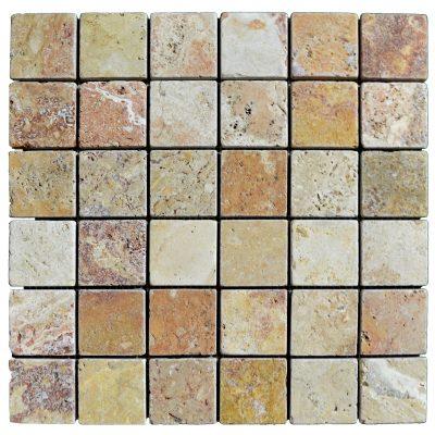 Antique blend 2x2 mosaic tile tumbled travertine