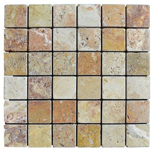 Antique Blend Tumbled Travertine Mosaic Tiles 2x2
