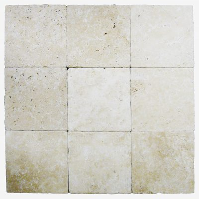 Ivory Tumbled Travertine Pavers 8x8