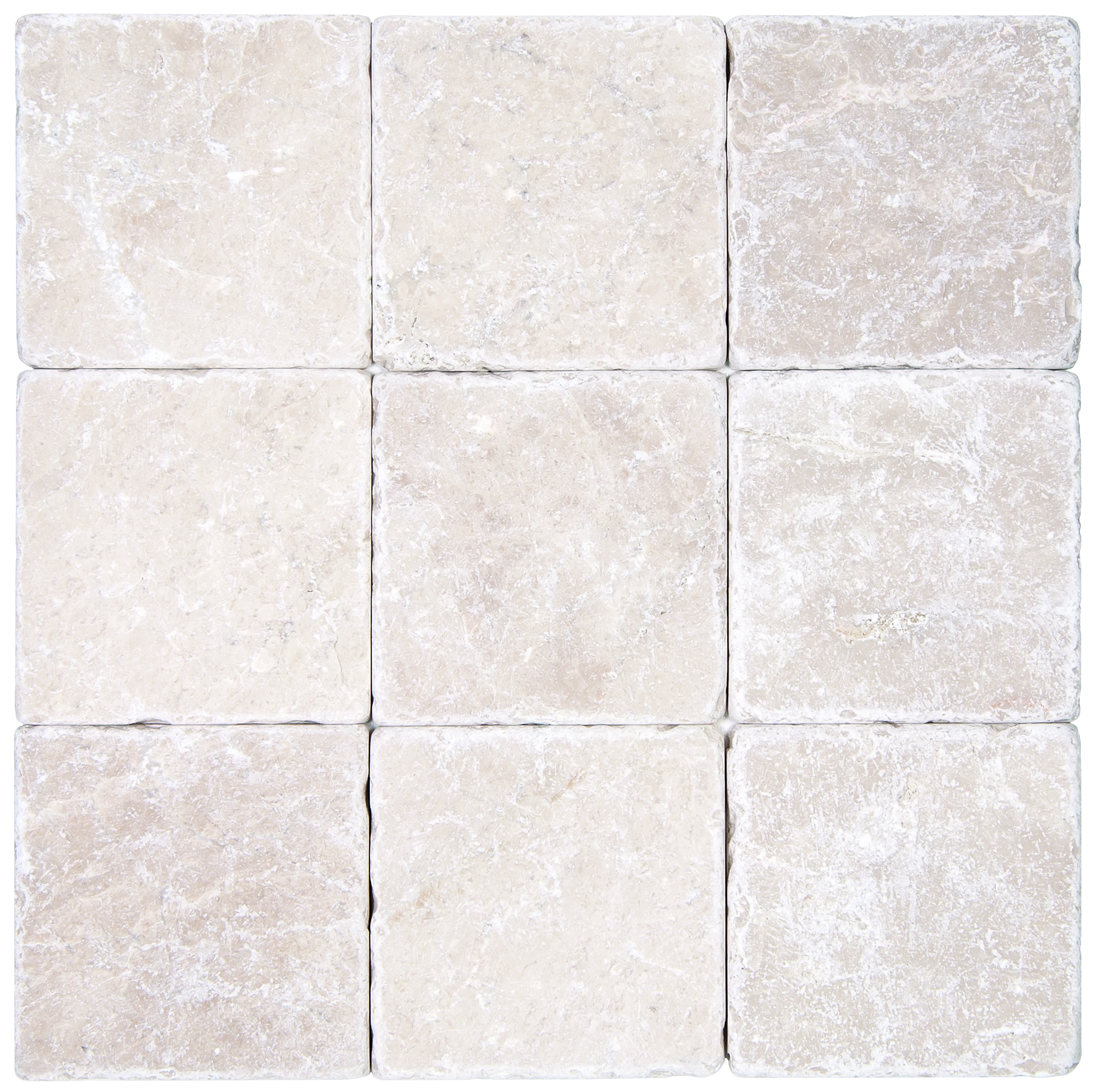 Botticino beige tumbled marble mosaic tiles 4 4 atlantic stone source for Tumbled glass tile
