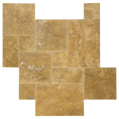 Gold Brushed Chiseled French Pattern Travertine Tiles-ATLANTIC STONE SOURCE