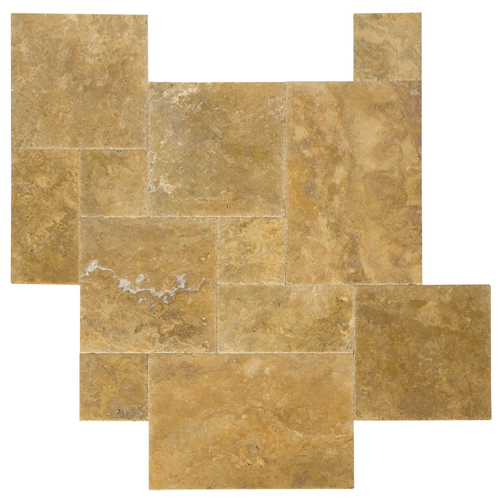 Gold Brushed Chiseled French Pattern Travertine Tiles