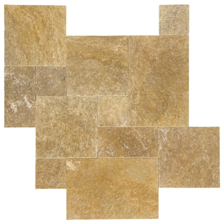 Gold Tumbled French Pattern Travertine Tiles