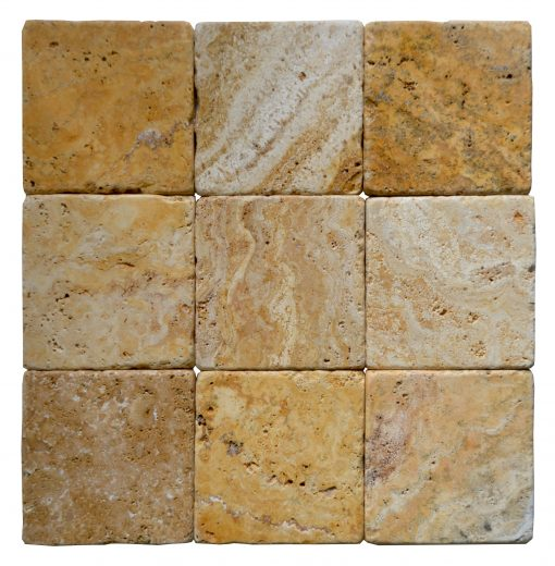 Gold Tumbled Travertine Mosaic Tiles 4x4