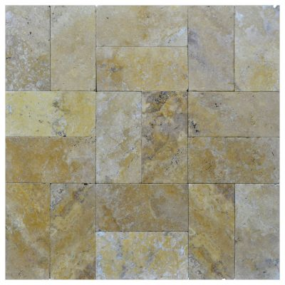 Gold Tumbled Travertine Pavers 6x12