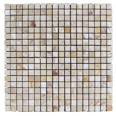 LEONARDO 1X1 POLISHED TRAVERTINE MOSAIC TILE