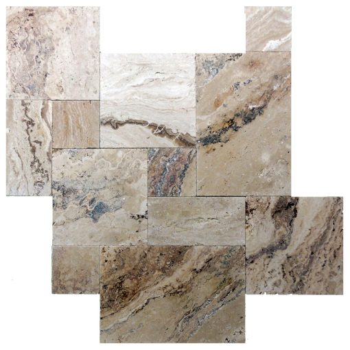 Leonardo Tumbled French Pattern Travertine Pavers