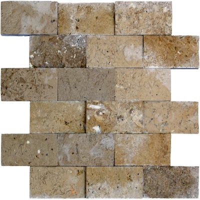 Noce Split Face Travertine Mosaic Tiles 2x4