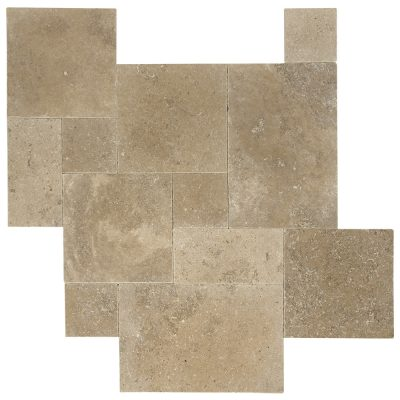 Noce Tumbled French Pattern Travertine Pavers