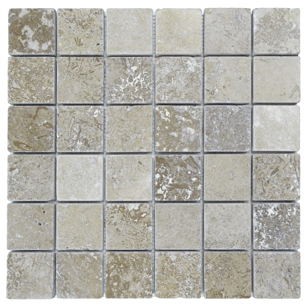 Noce tumbled travertine mosaic tiles 2 2 atlantic stone source for Tumbled glass tile