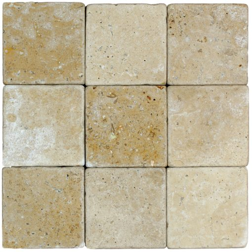 Noce Tumbled Travertine Mosaic Tiles 4x4