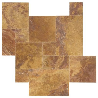 Peach Blend Brushed Chiseled French Pattern Travertine Tiles