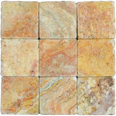 Peach Blend Tumbled Travertine Mosaic Tiles 4x4