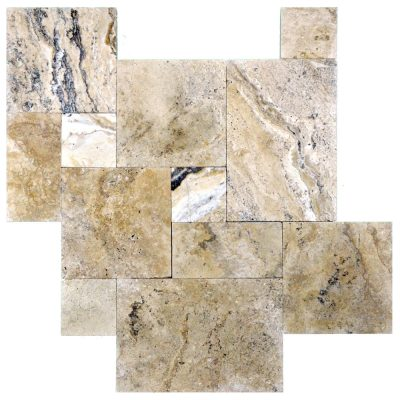 Philadelphia Tumbled French Pattern Travertine Pavers