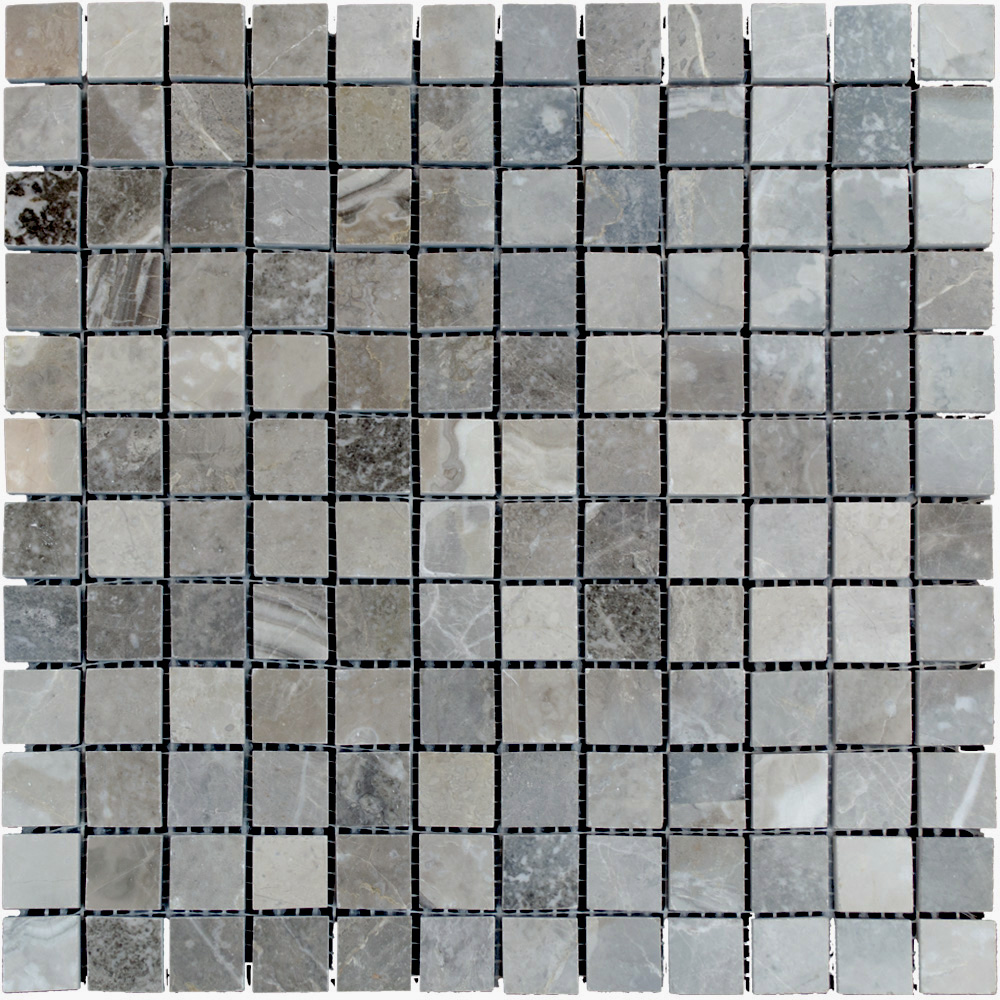 Silver Polished Marble Mosaic Tiles 1x1