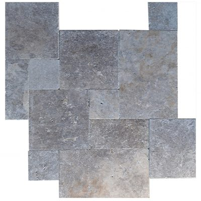 Silver Tumbled French Pattern Travertine Pavers