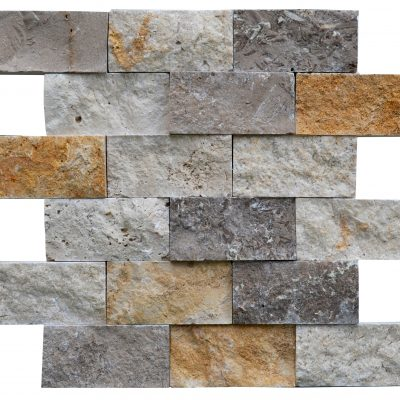 White Gold Noce Mix Split Face Travertine Mosaic Tiles 2x4