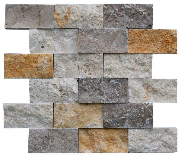 White Gold Noce Mix Split Face Travertine Mosaic Tiles 2x4