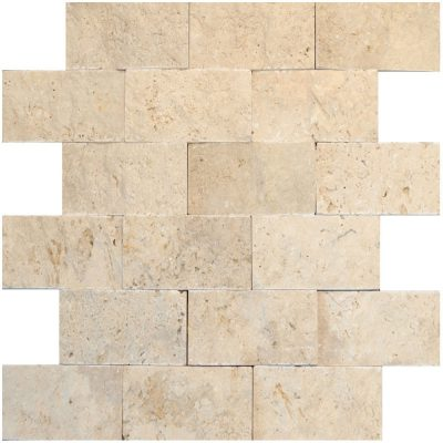 White Split Face Travertine Mosaic Tiles 2x4