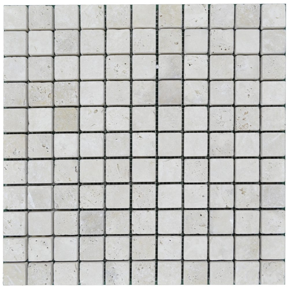 white tumbled travertine mosaic tiles 1x1