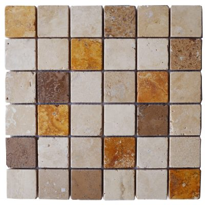 Emperador White Noce Mix Tumbled Marble Travertine Mosaic Tiles 2x2