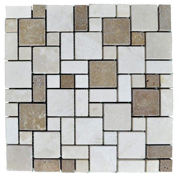 Botticino Noce Tumbled Mini French Pattern Mosaic Tiles