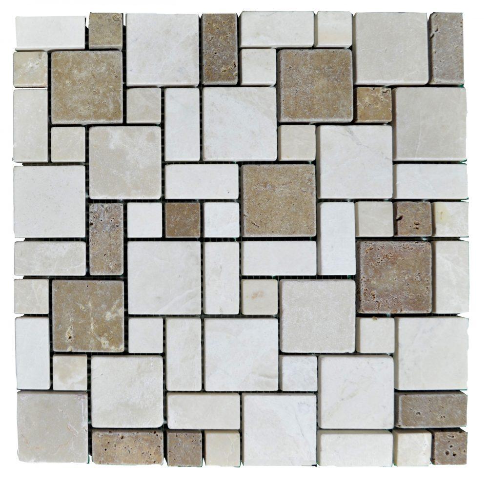 botticino noce tumbled mini french pattern mosaic tiles. Black Bedroom Furniture Sets. Home Design Ideas