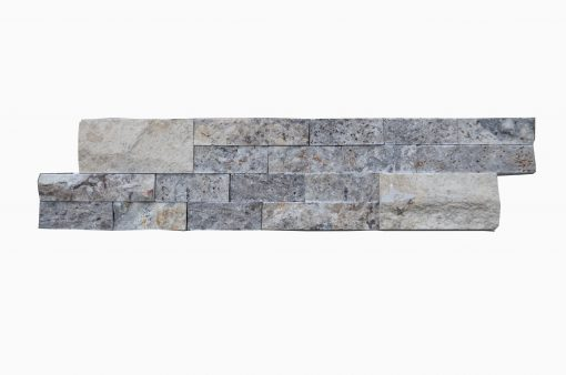 Silver Linear Split Face Marble Mosaic Tiles 6x24
