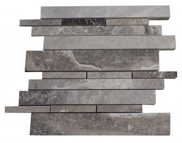 Silver Polished Marble Linear Mosaic Tiles