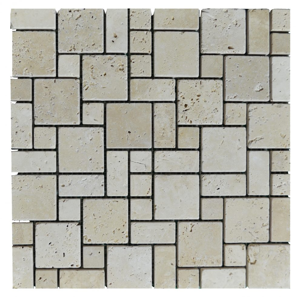 White Tumbled Mini French Pattern Mosaic Tiles