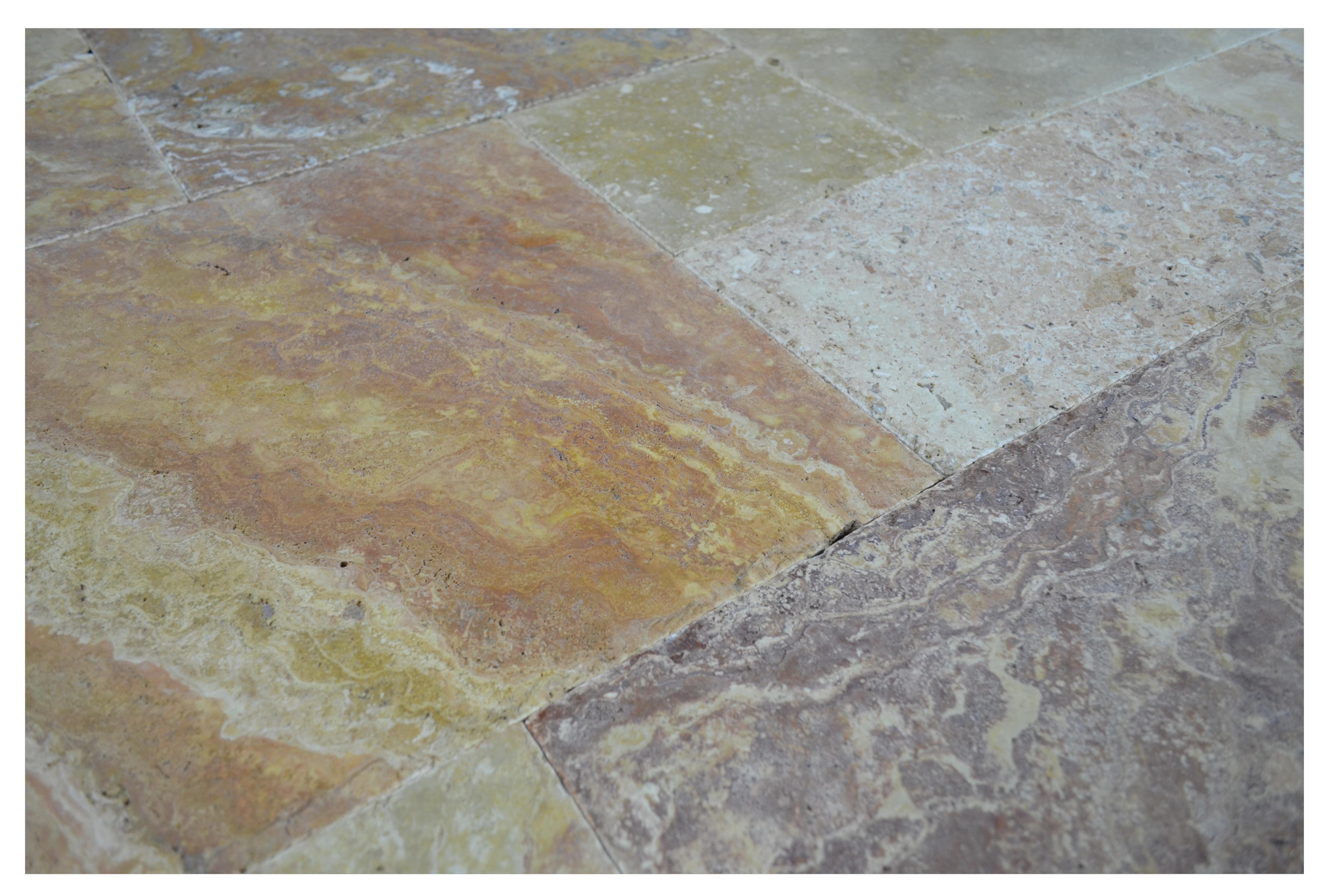 Antique Blend Brushed Chiseled French Pattern Travertine Tiles ...
