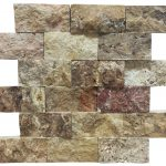 Antique Blend Split Face Travertine Mosaic Tiles 2x4