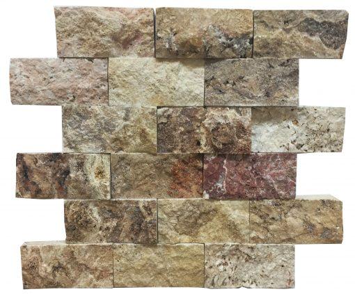 Antique Blend Split Face Travertine Mosaic Tiles 2x4
