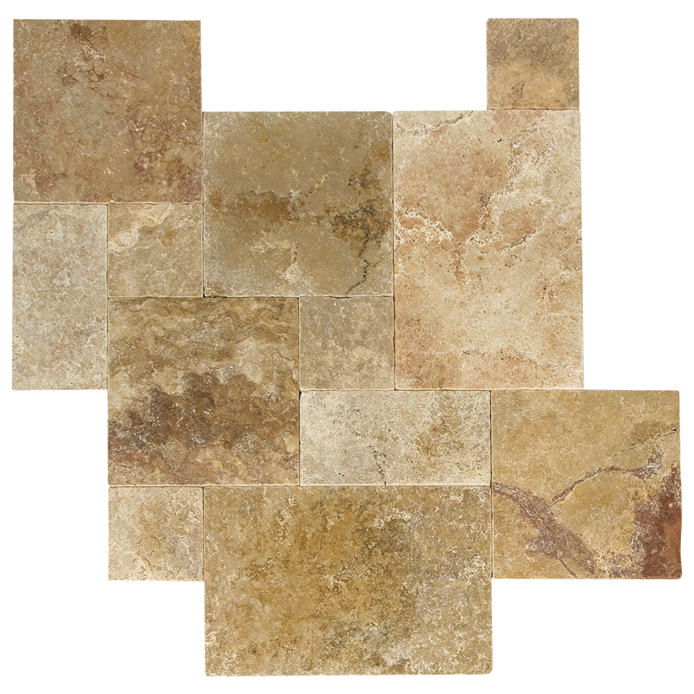 Antique blend tumbled french pattern travertine pavers for 16x16 deck material list