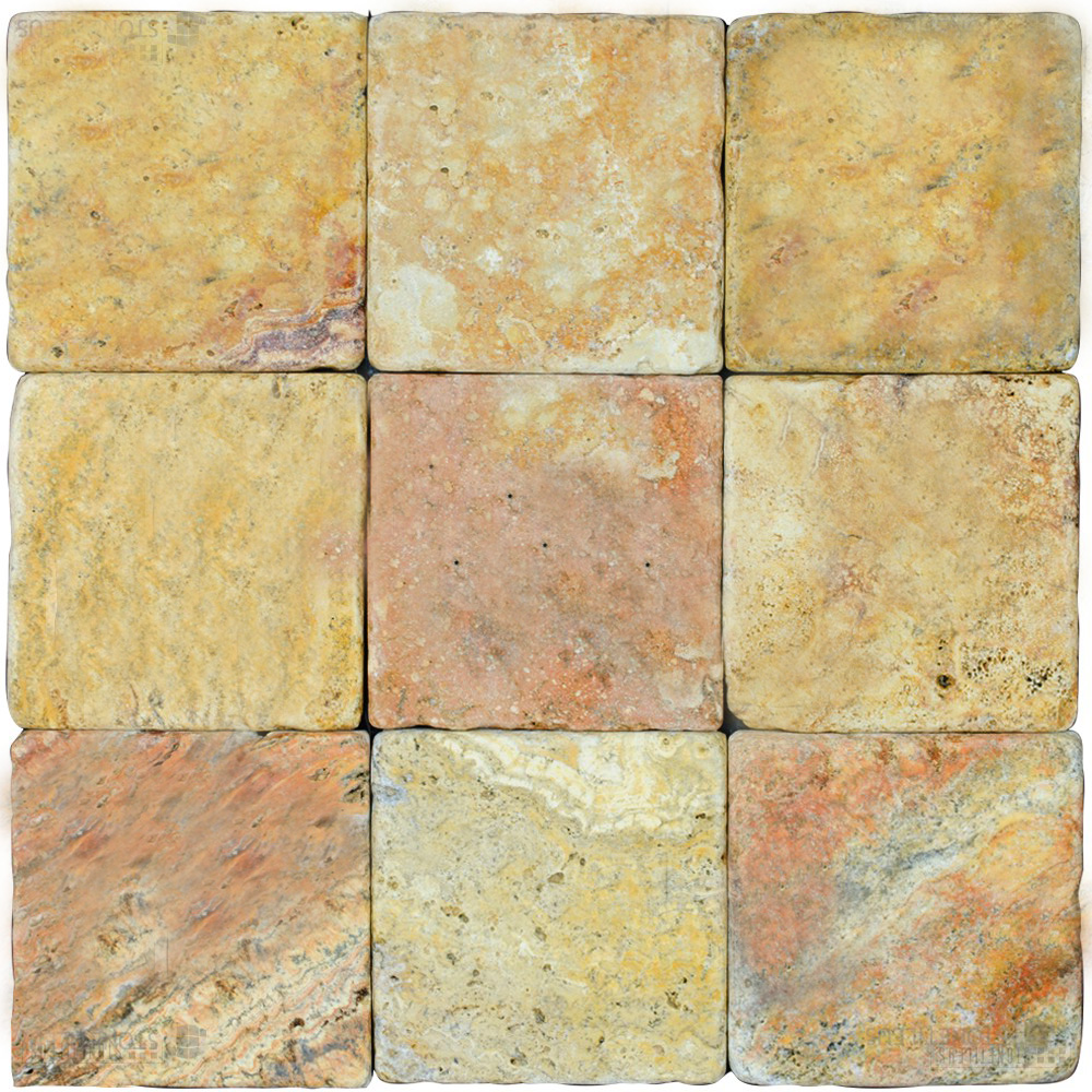 Antique Blend Tumbled Travertine Mosaic Tiles 4x4