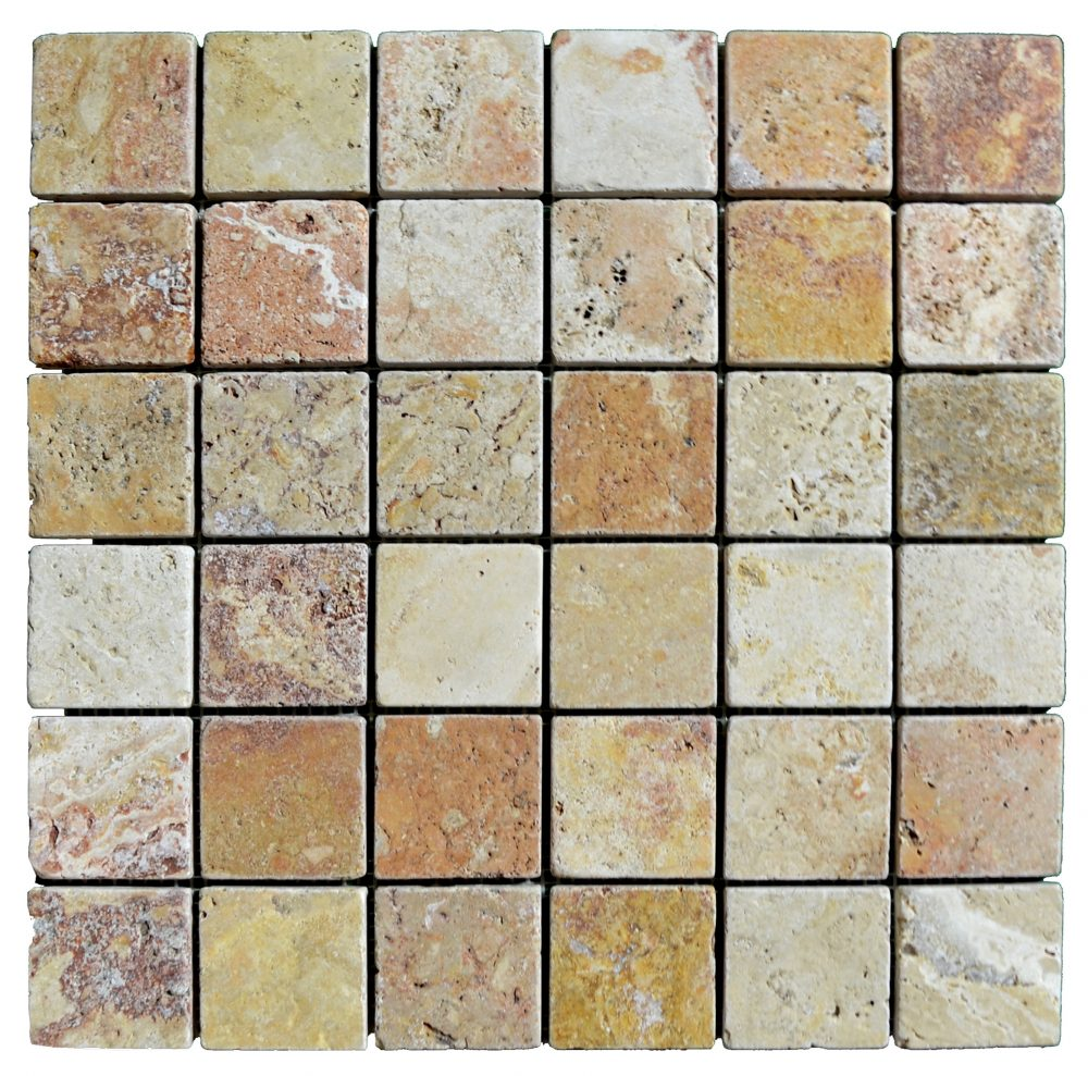 Antique Blend Tumbled Travertine Mosaic Tiles 2x2