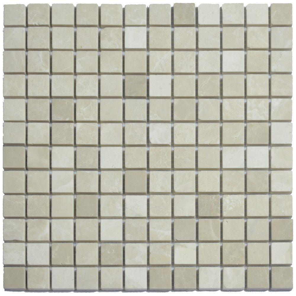 Botticino Beige Polished Marble Mosaic Tiles 1×1