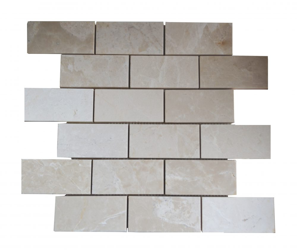 Botticino Beige Polished Marble Mosaic Tiles 2x4