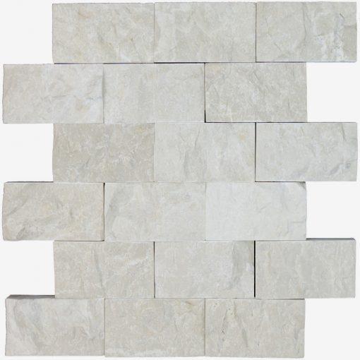 Botticino Beige Split Face Marble Mosaic Tiles 2×4