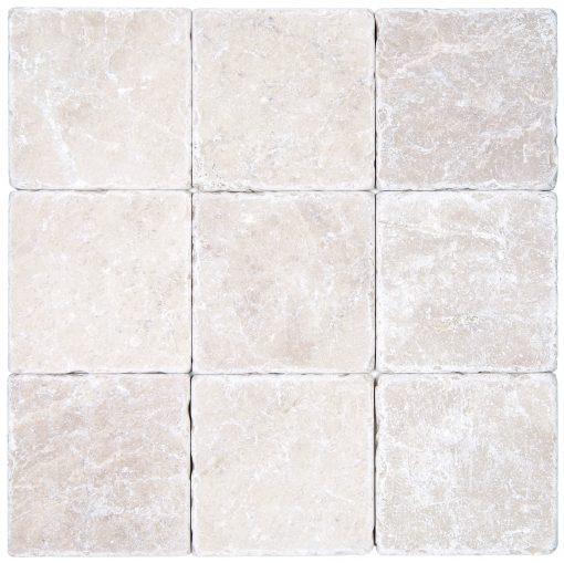 Botticino Beige Tumbled Marble Mosaic Tiles 4x4