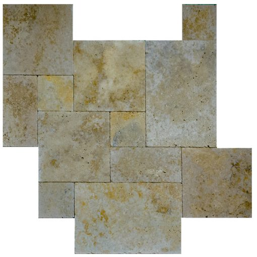 Country Classic Tumbled French Pattern Travertine Pavers