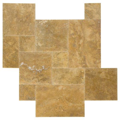 Gold Brushed Chiseled French Pattern Travertine Tiles-ATLANTIC STONE SOURCE