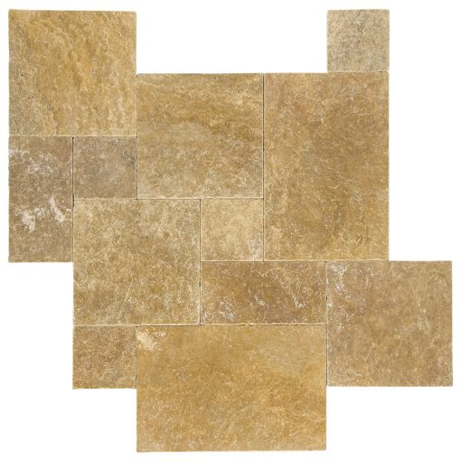 Gold Tumbled French Pattern Travertine Pavers -Travertine tiles sale-Atlantic Stone Source