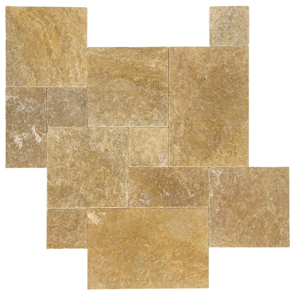 Gold Tumbled French Pattern Travertine Pavers -Travertine tiles sale-Atlantic Stone Source