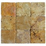 Gold Classic Tumbled Travertine Mosaic Tiles 4x4