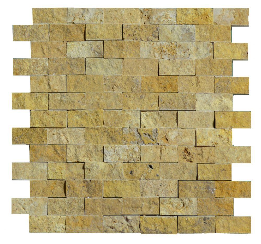 Gold Split Face Travertine Mosaic Tiles 1x2