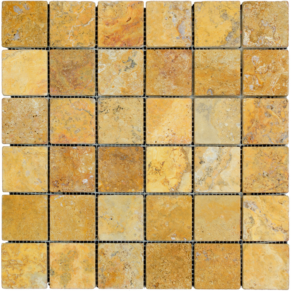 Gold tumbled travertine mosaic tiles 2x2 natural stone for Tumbled glass tile