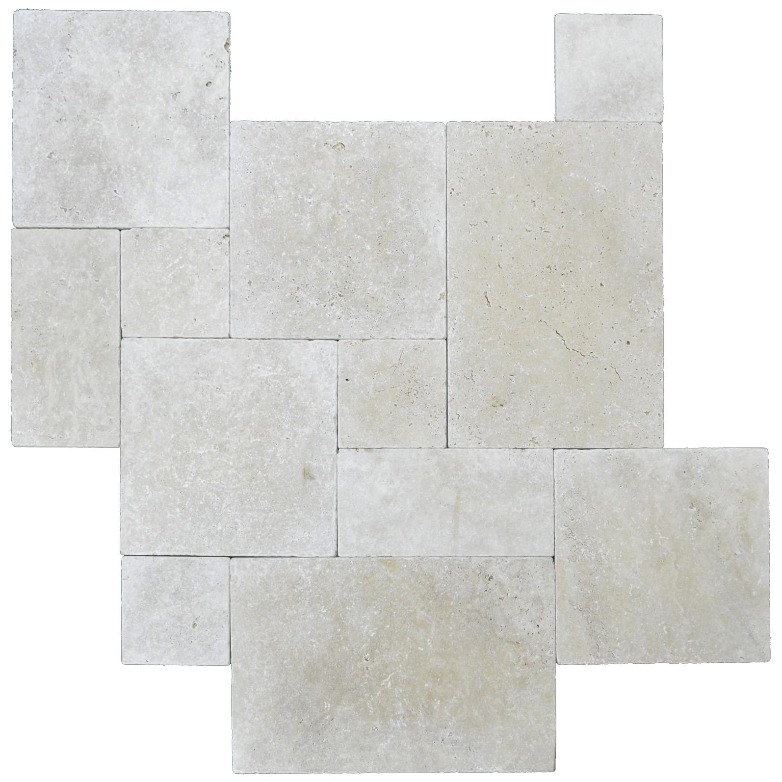 Ivory Tumbled French Pattern Travertine Pavers