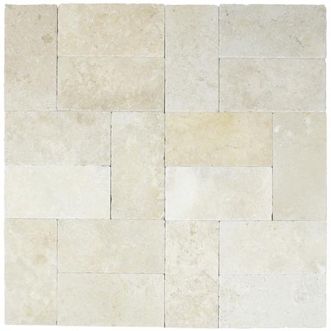 Ivory Tumbled Travertine Pavers 6x12